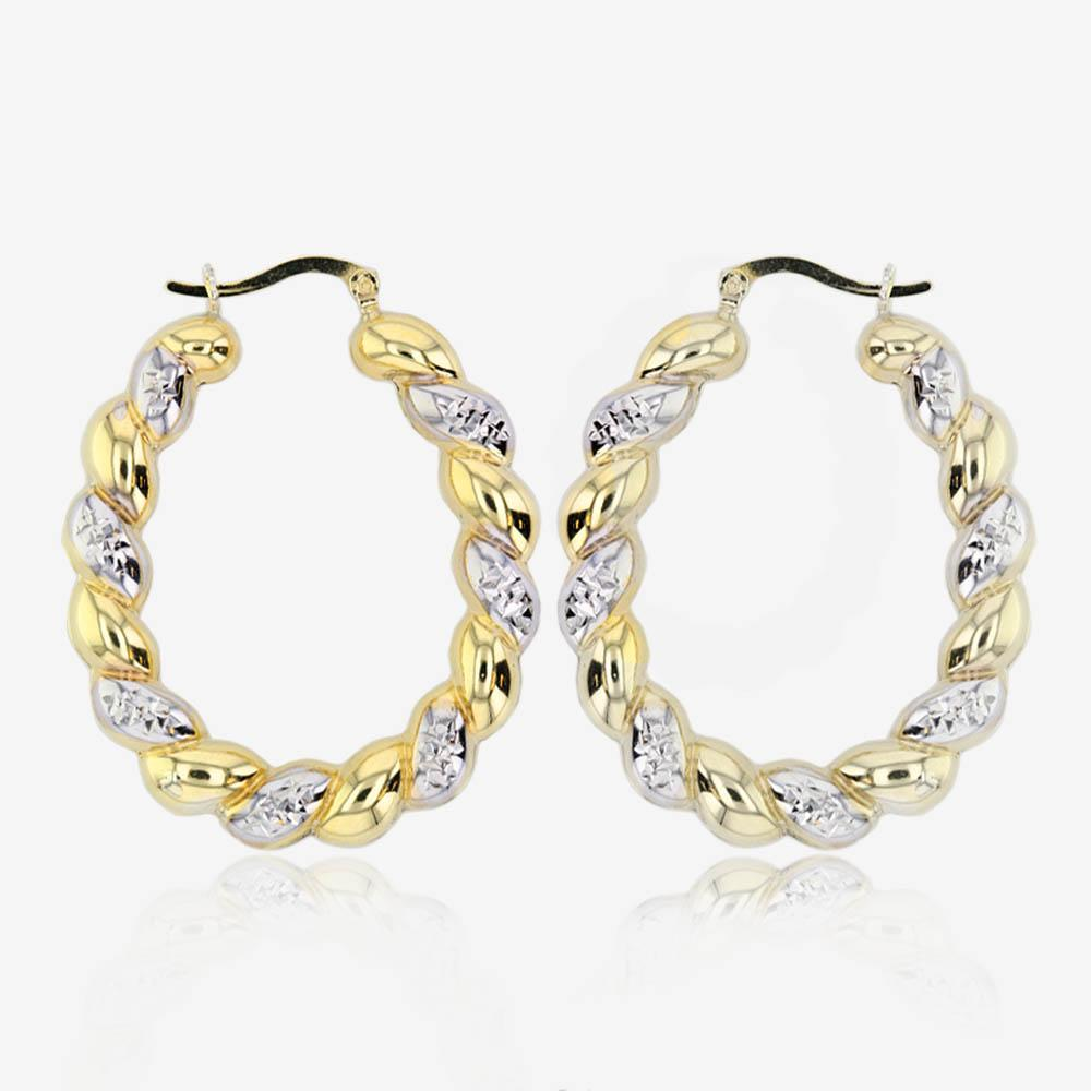 9ct Gold And Silver Bonded Oval 2 Colour Creole Earrings - Large