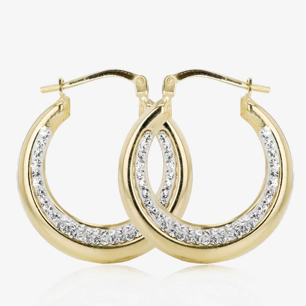 2.2cm Wide 9ct Gold & Silver Bonded Creole Earrings Made With Swarovski<sup>®</sup> Crystals