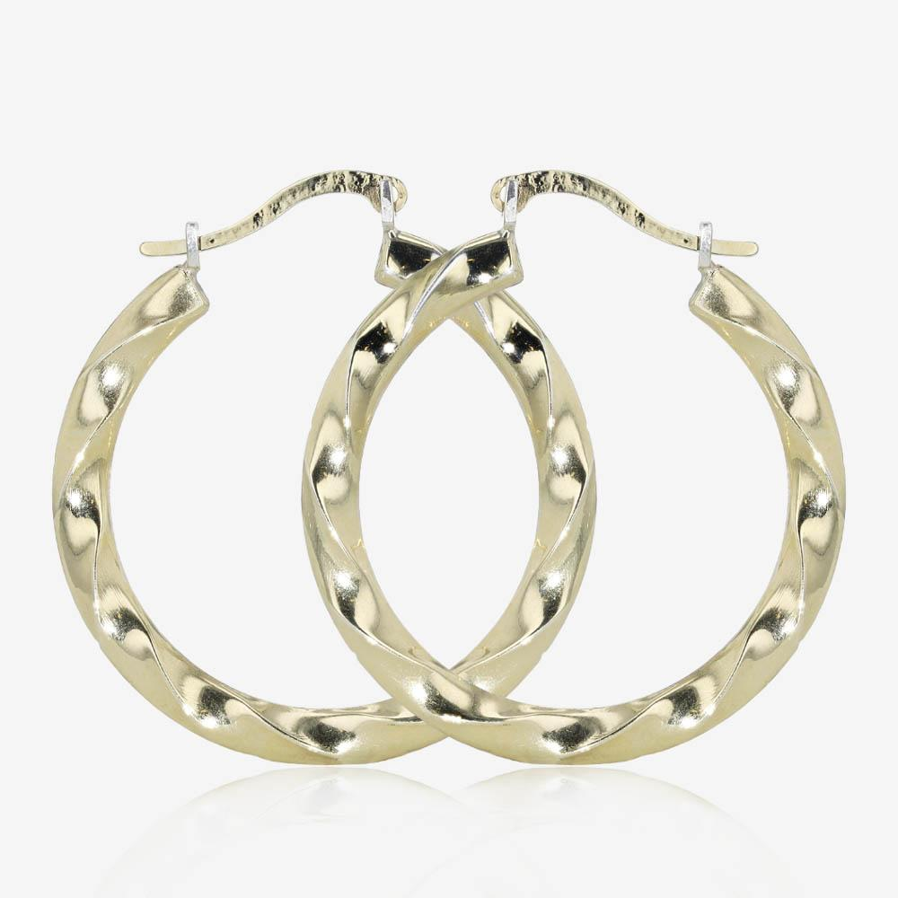 9ct Gold & Silver Bonded Twist Creole Earrings