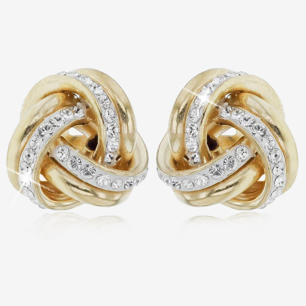 9ct Gold And Silver Bonded Knot Stud Earrings