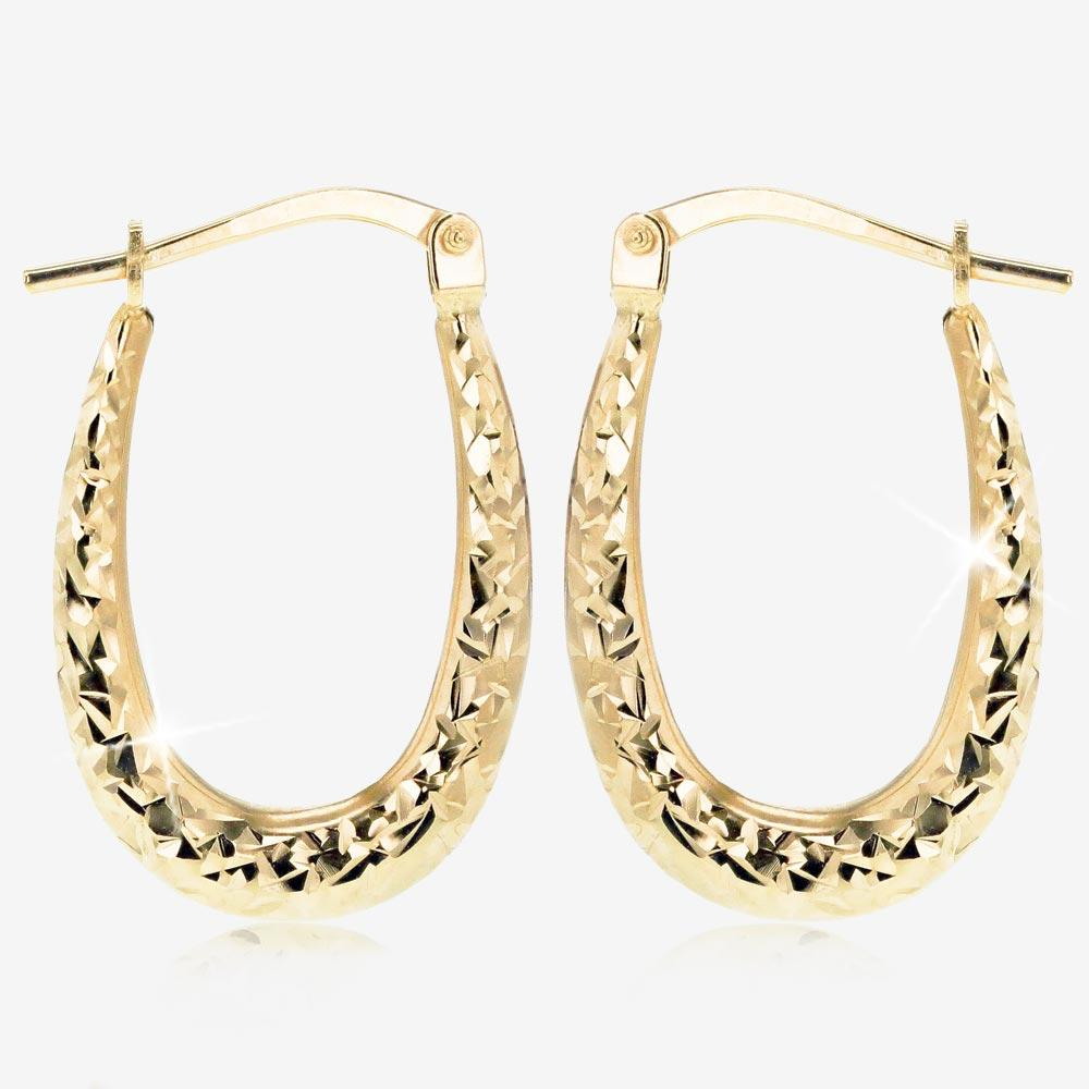 9ct Gold And Silver Bonded Sparkle Creole Earrings