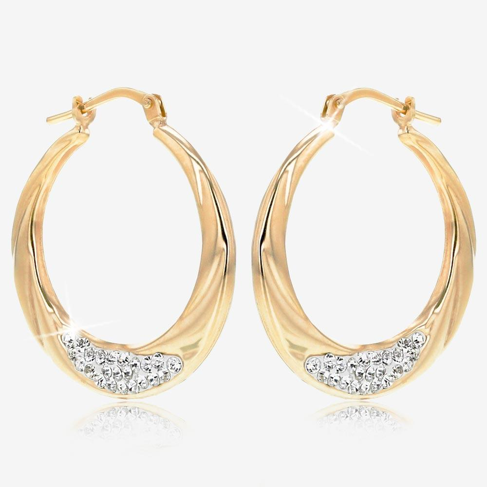 9ct Gold And Silver Bonded Creole Earrings Made With Swarovski® Crystals