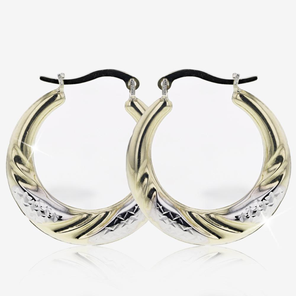 9ct Gold & Silver Bonded 2 Colour Creole Earrings