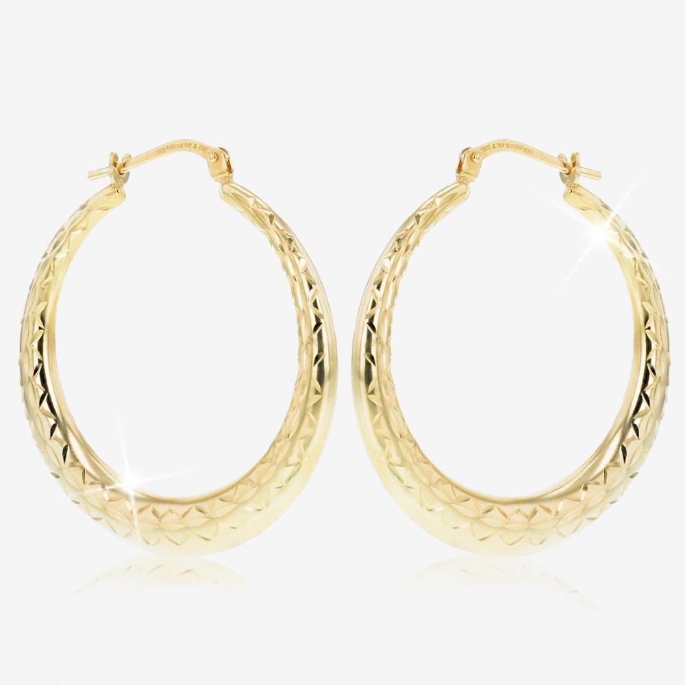 9ct Gold & Silver Bonded Sparkle Creole Earrings