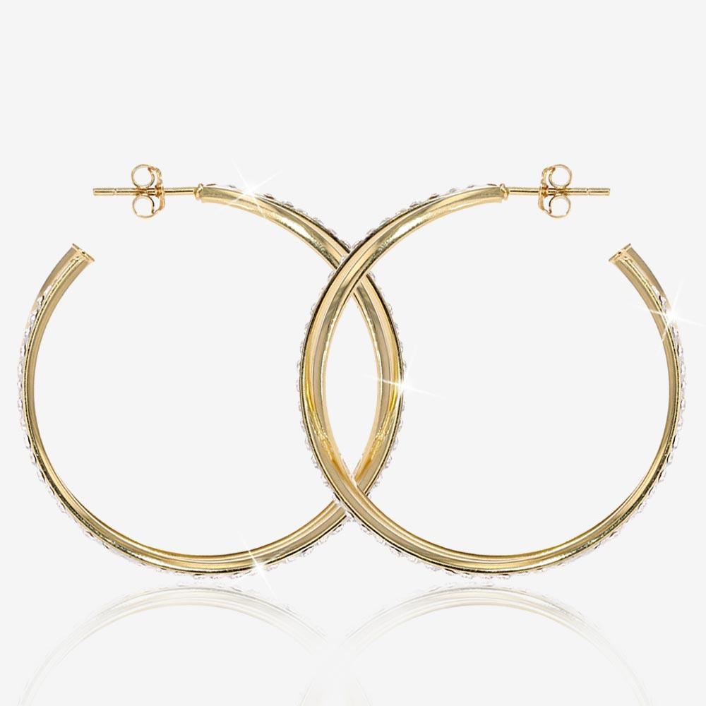 9ct Gold & Silver Bonded Crystal Band Earrings