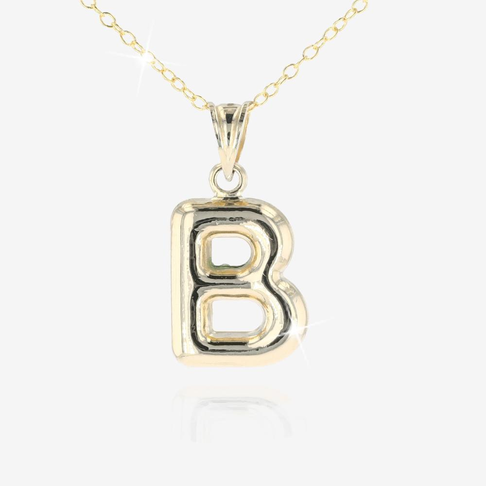 9ct Gold and Silver Bonded 'B' Initial Necklace