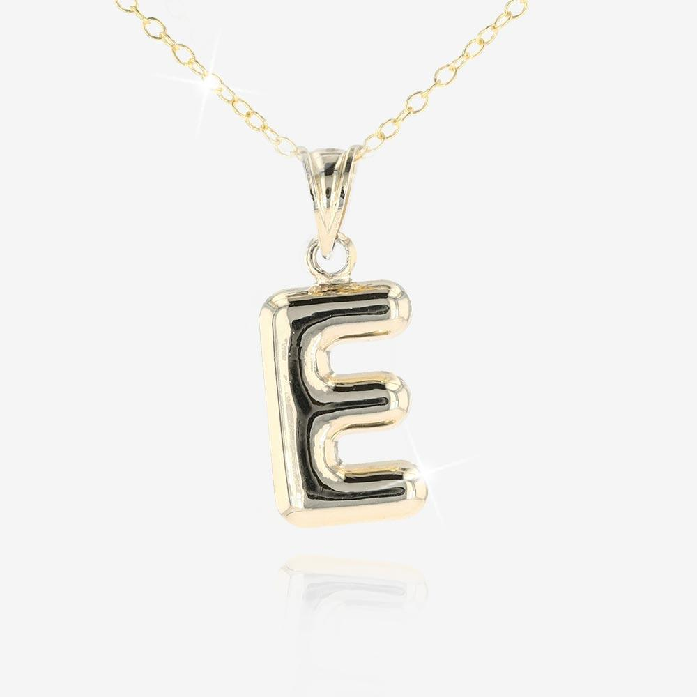 9ct Gold and Silver Bonded 'E' Initial Necklace
