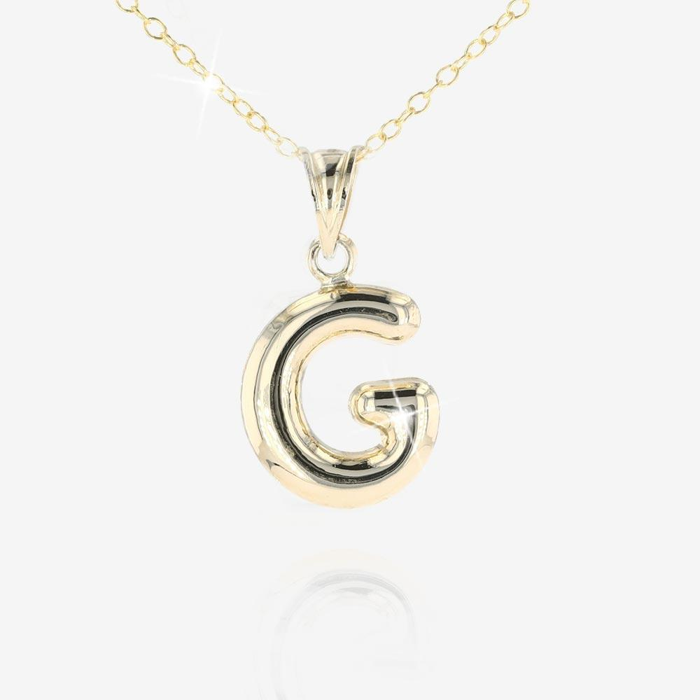 9ct Gold and Silver Bonded 'G' Initial Necklace