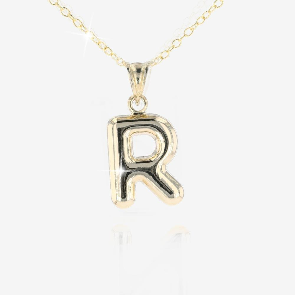 9ct Gold and Silver Bonded 'R' Initial Necklace