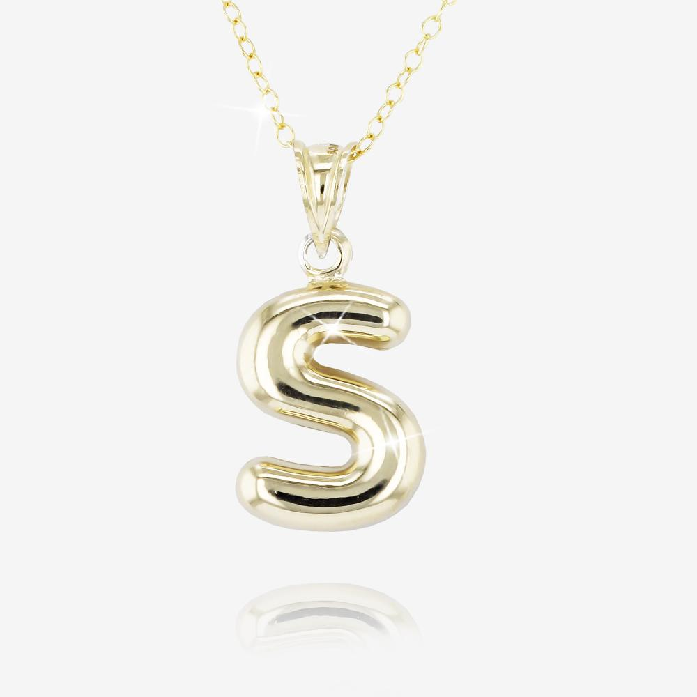 9ct Gold and Silver Bonded 'S' Initial Necklace
