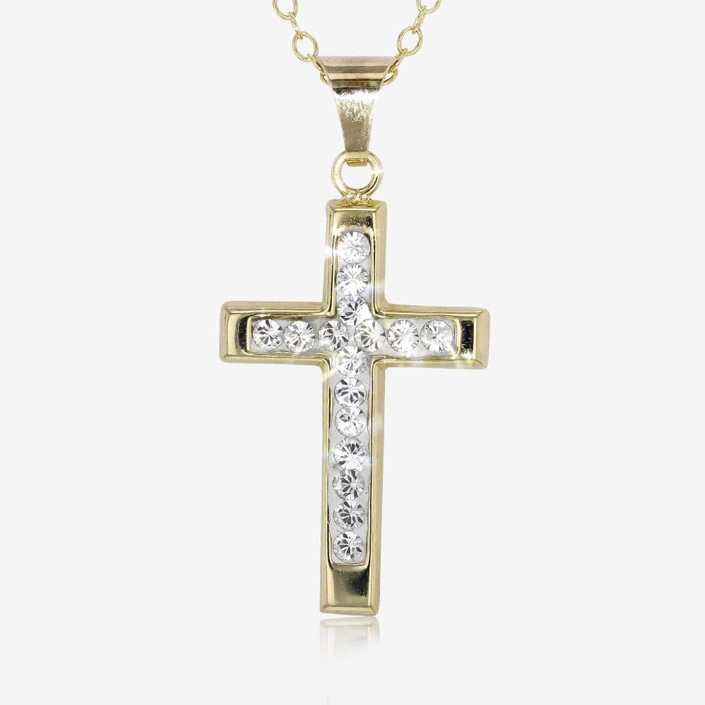 9ct Gold And Silver Bonded Cross Necklace