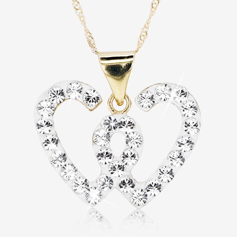 9ct Gold And Silver Bonded Necklace Set With Swarovski<sup>&reg;</sup> Crystals