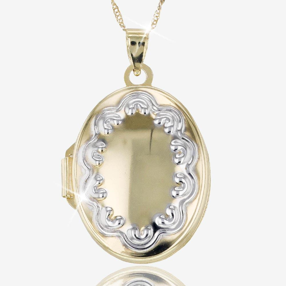 9ct Gold And Silver Bonded Locket Necklace