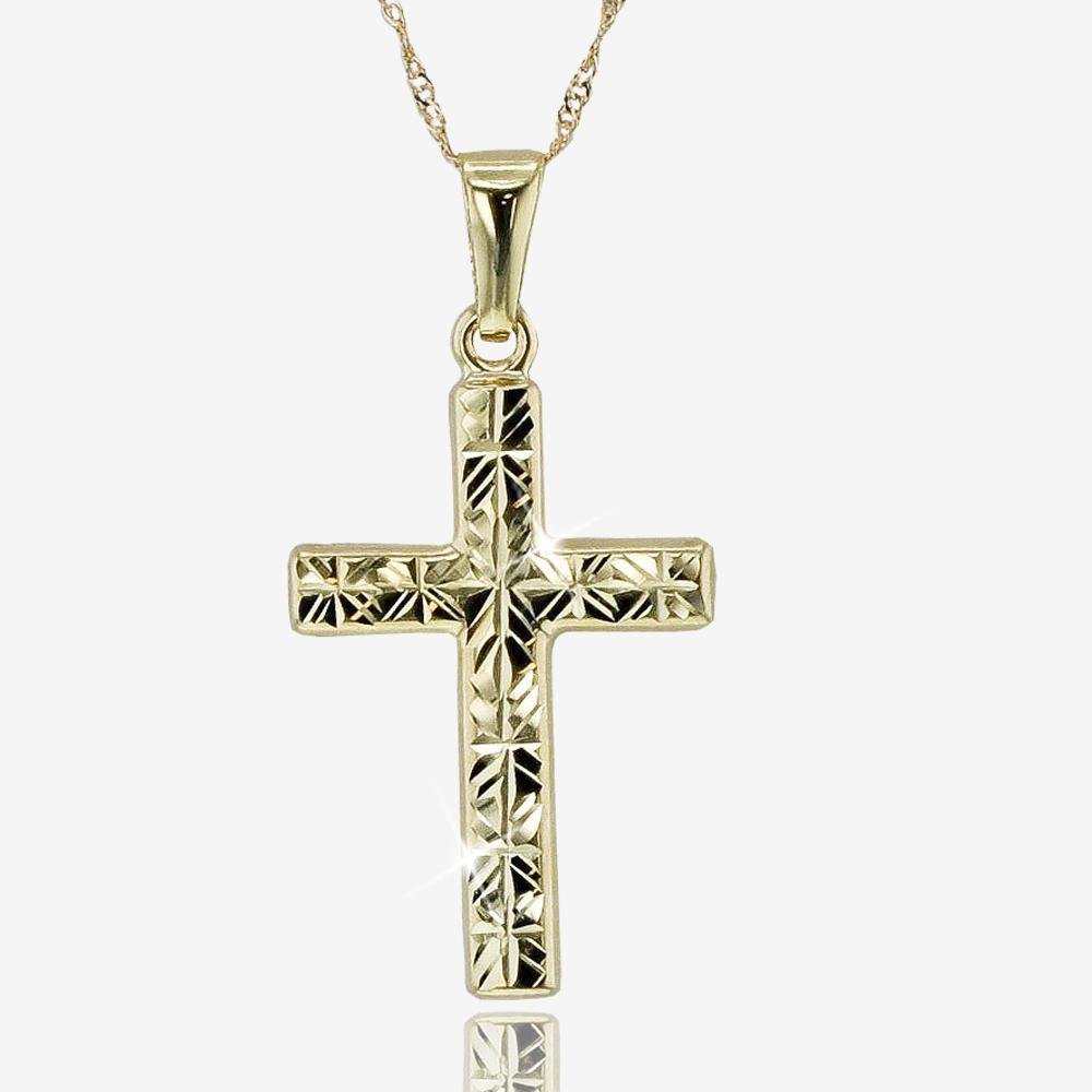 9ct Gold Diamond Cut Cross Necklace