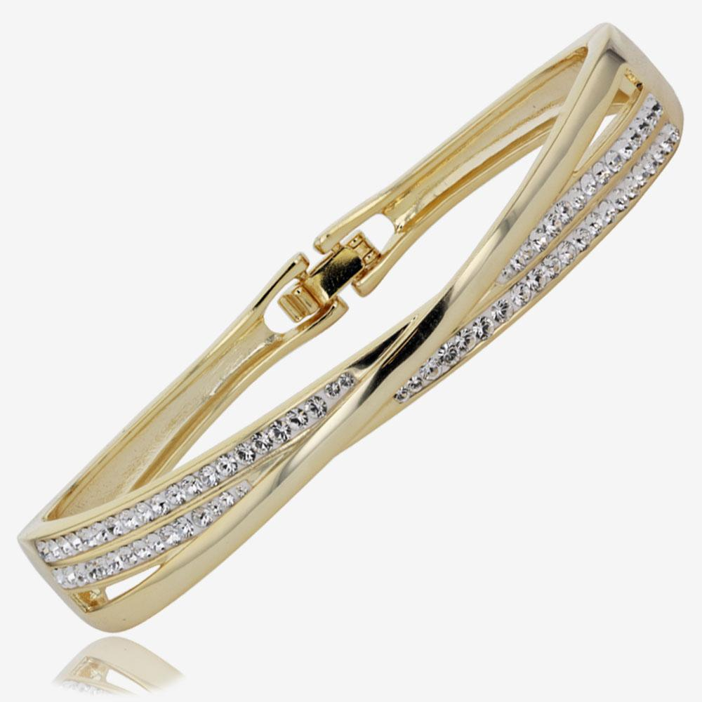 Lucille Gold Finish Bangle Made With Swarovski® Crystals