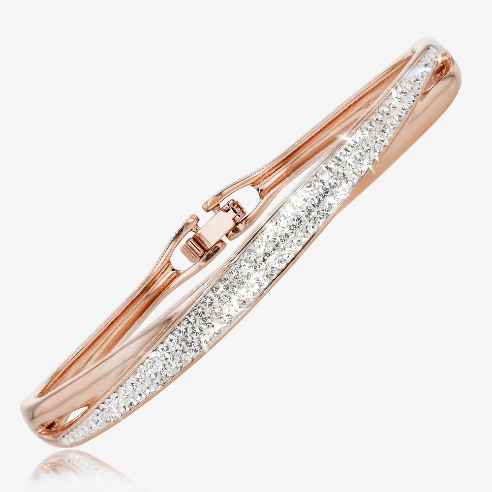 Rose Gold Finish Lucille Collection necklace, bangle and earrings set Made With Swarovski<sup>®</sup> Crystals