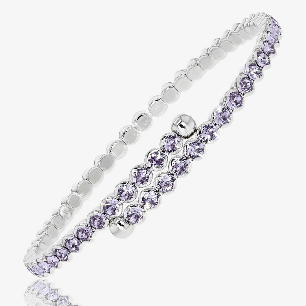 Swarovski® Crystals Ladies Amethyst Colour Flexi Bangle