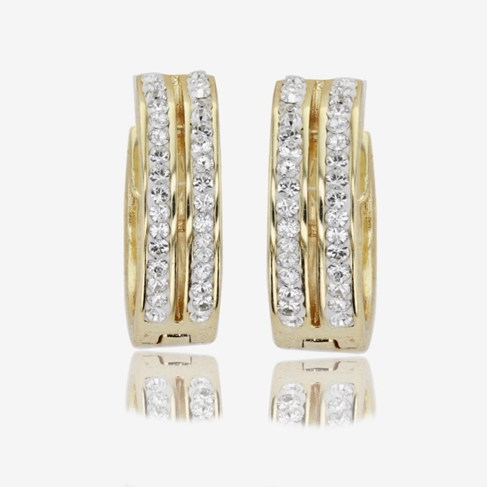Fortuna Gold Finish Huggie Earrings Made With Swarovski® Crystals