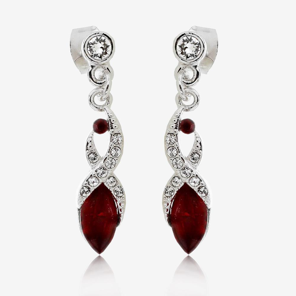 Biarritz Deep Red Earrings Made With Swarovski<sup>®</sup> Crystals