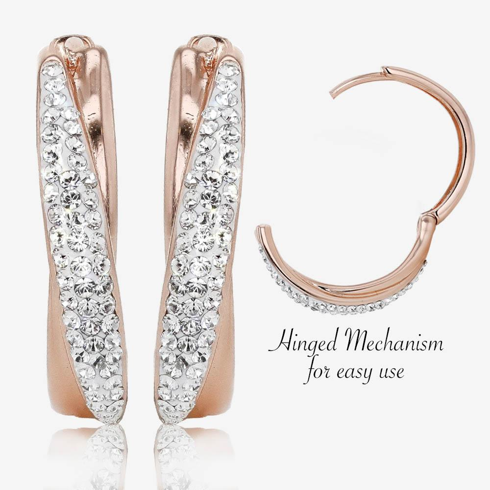 Swarovski® Crystals Rose Gold Finish Cross-Over Huggie Earrings