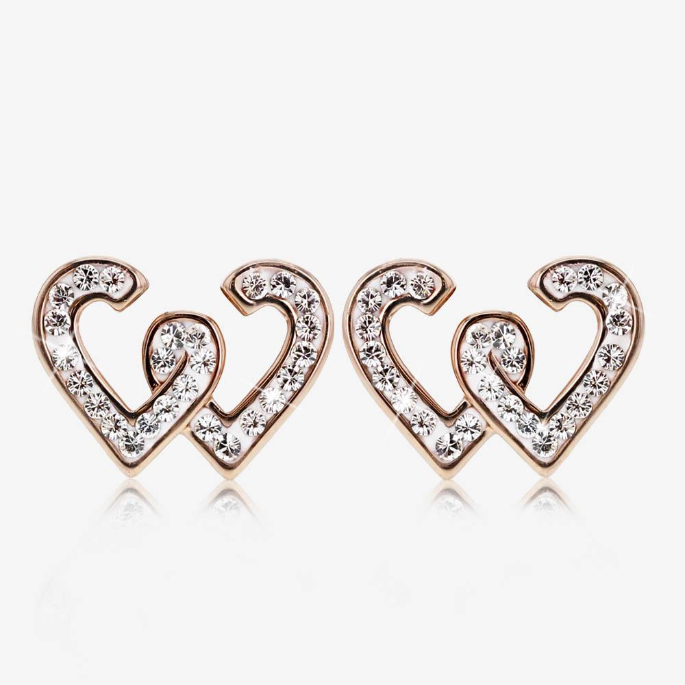 Swarovski® Crystals Rose Gold Finish Entwined Heart Earrings