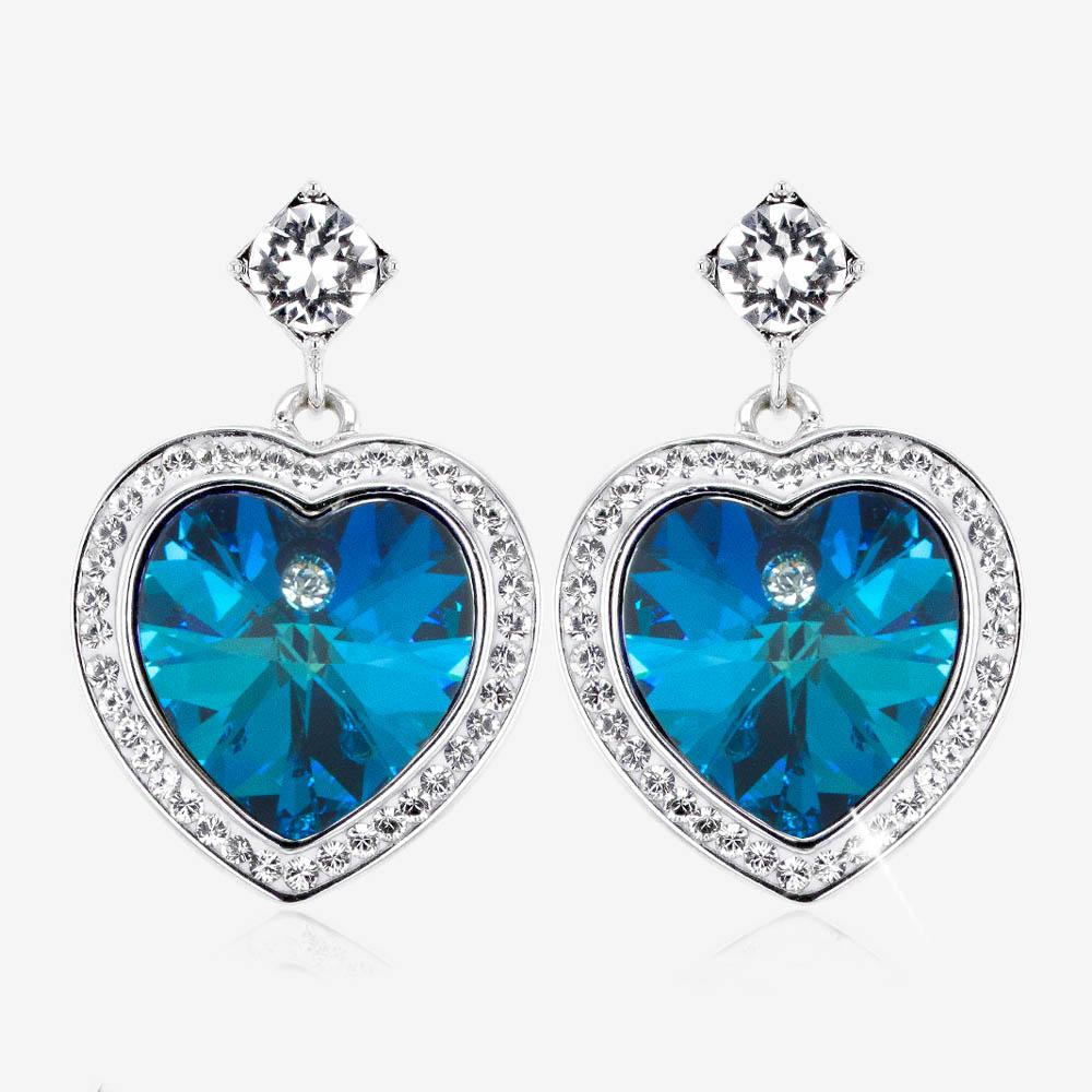 Swarovski® Crystals Blue Heart Earrings