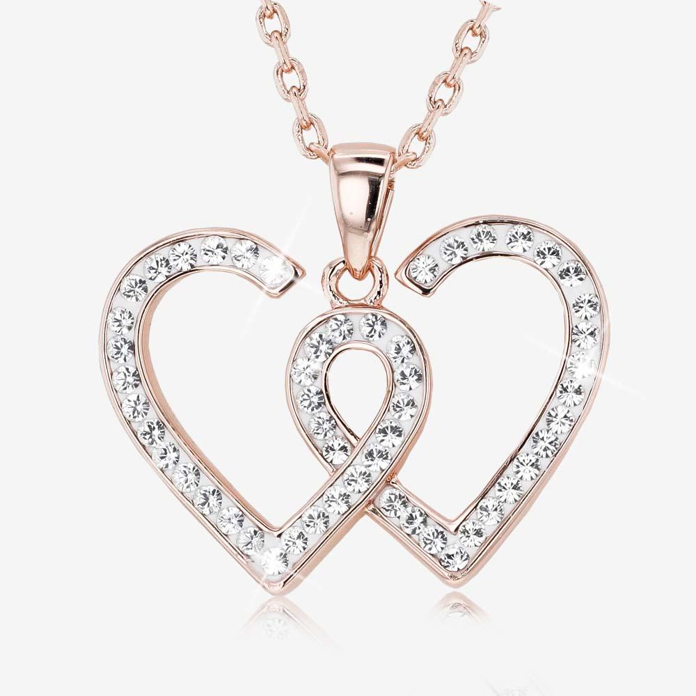 Swarovski® Crystals Rose Gold Finish Entwined Heart Necklace