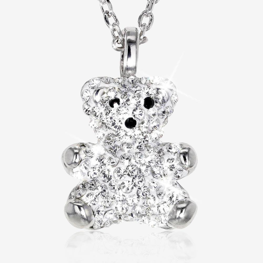 Teddy Bear Necklace Made With Swarovski® Crystals