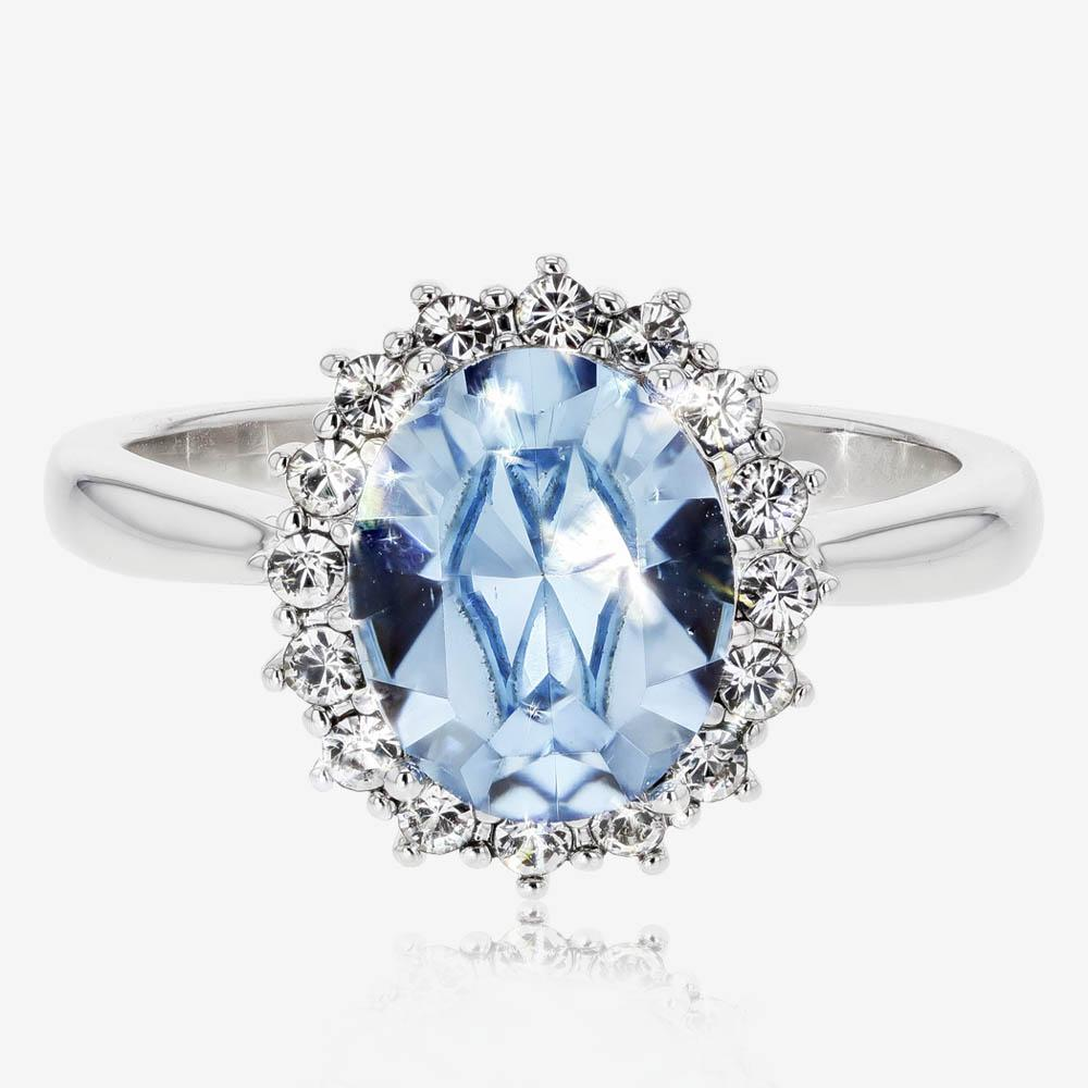 Swarovski® Crystals Blue Oval Cluster Ring