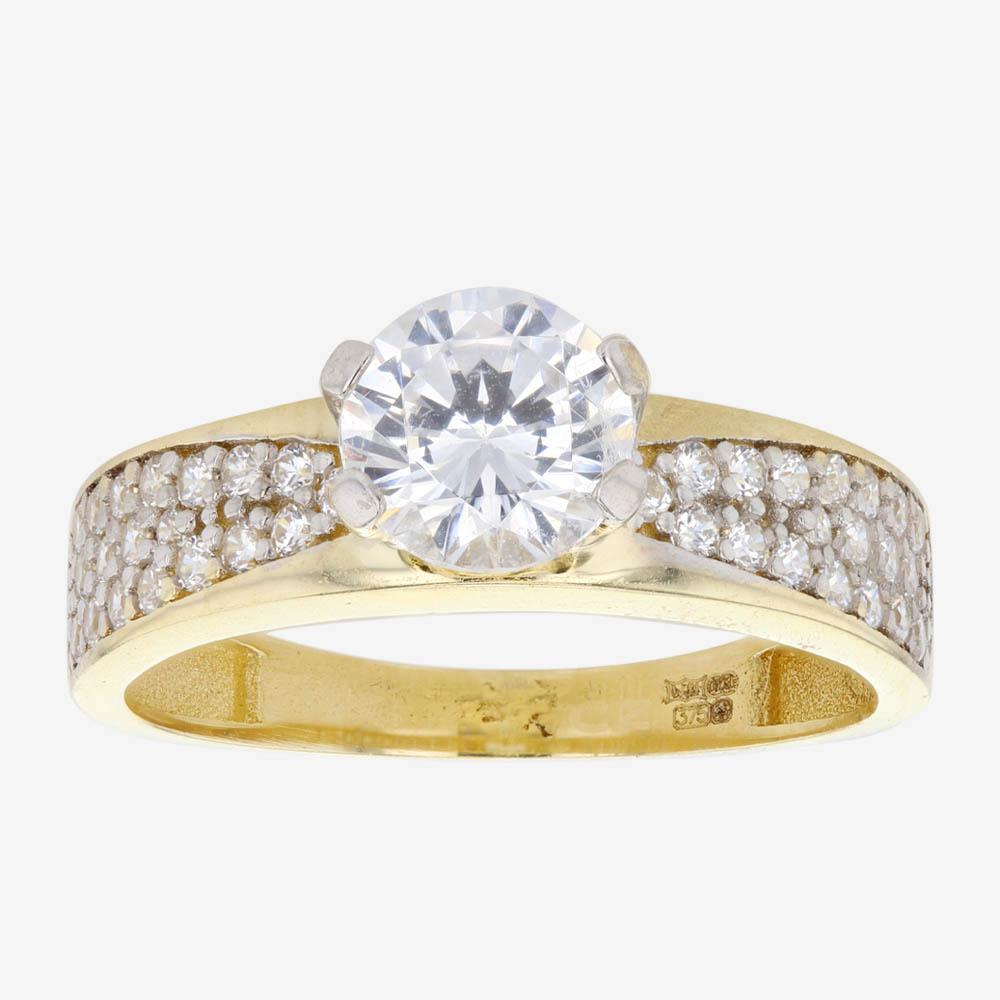 Warren James Mens Wedding Rings: Petunia 9ct Gold DiamonFlash Cubic Zirconia Solitaire Ring