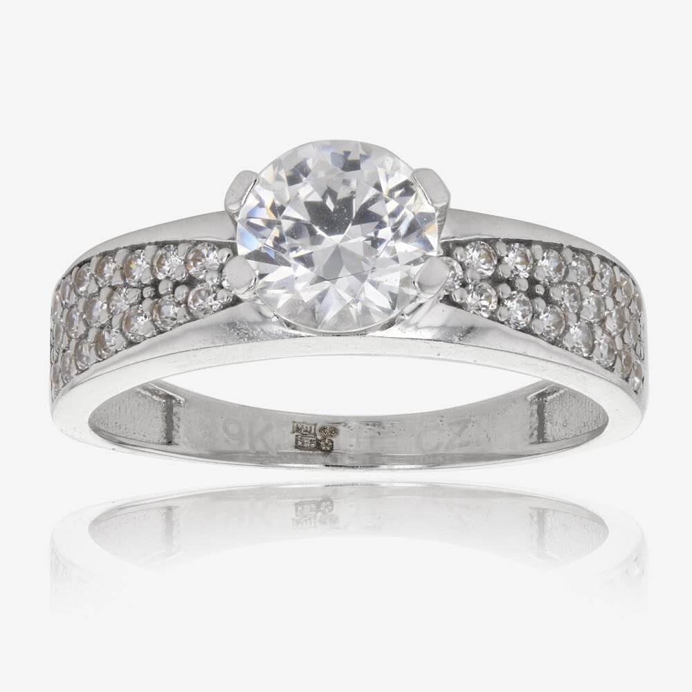 Warren James Mens Wedding Rings: Petunia 9ct White Gold DiamonFlash Cubic Zirconia Ring