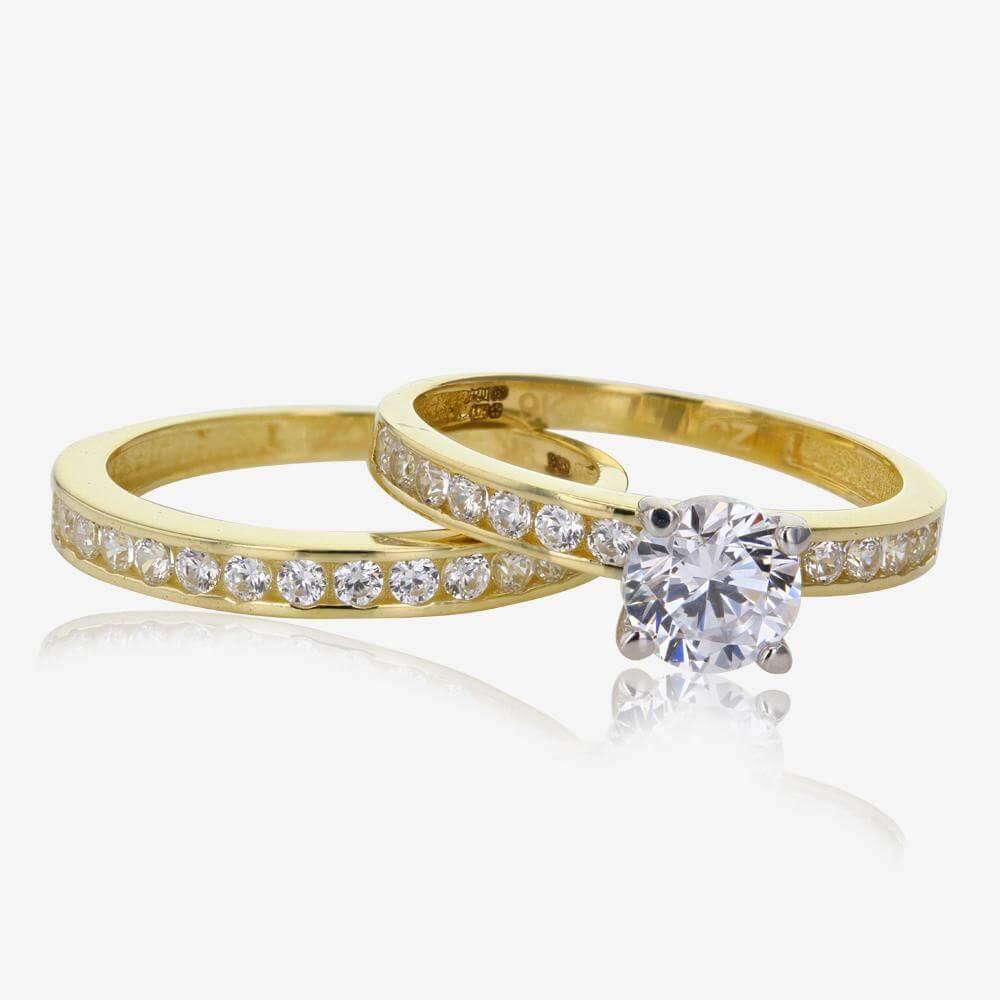 Cubic Zirconia Set Bands: 9ct Gold DiamonFlash® Cubic Zirconia Duet 2 Ring Set
