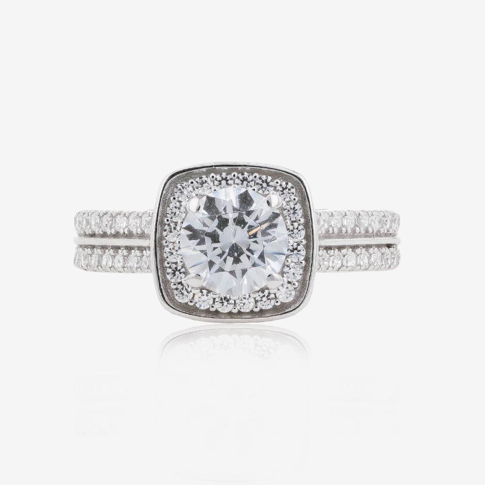 Warren James Mens Wedding Rings: 9ct White Gold DiamonFlash® Cubic Zirconia Cluster Ring