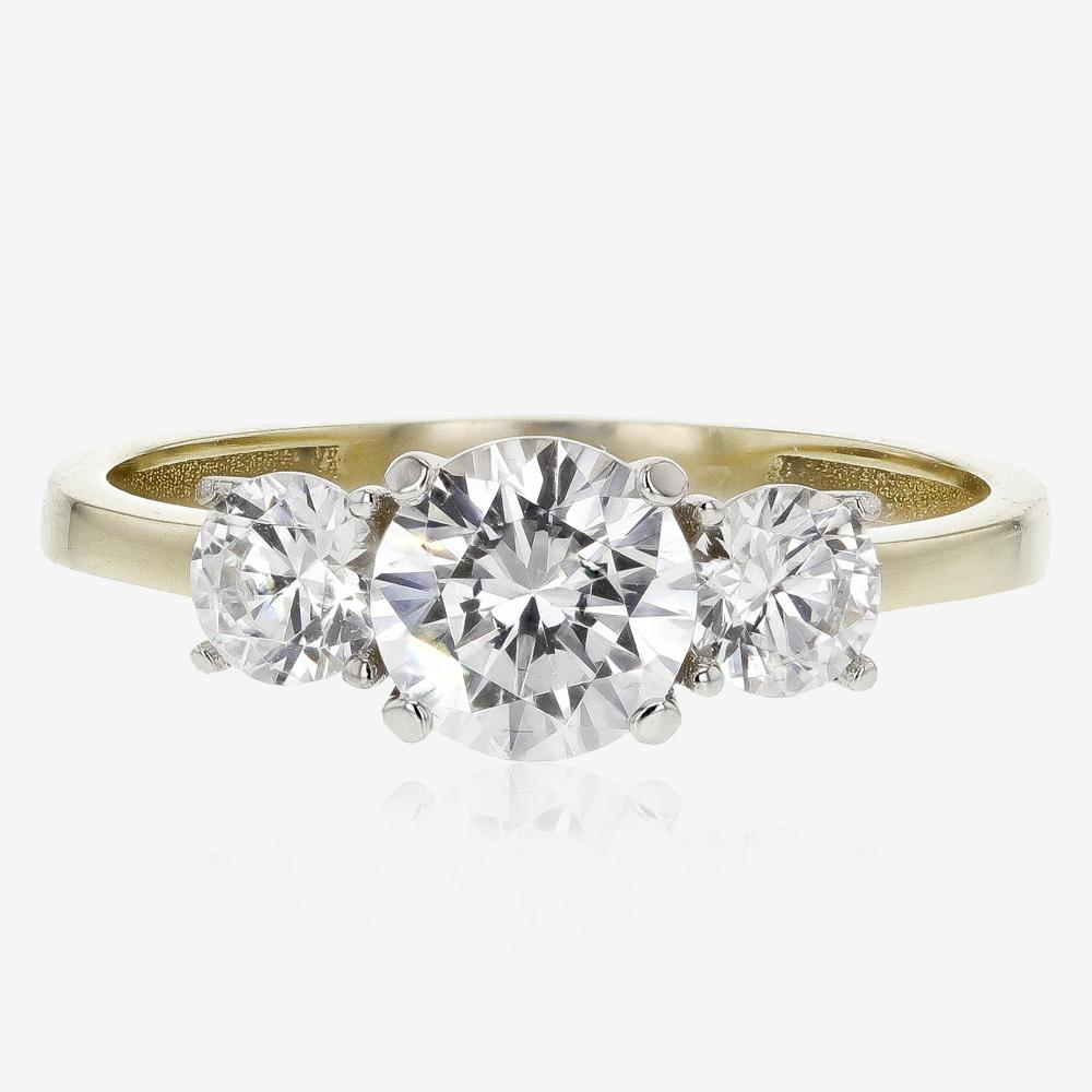 9ct Gold CZ 3 Stone Ring