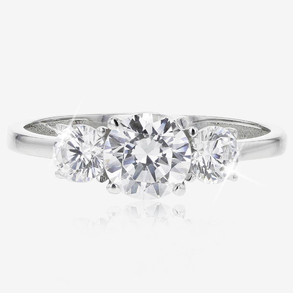 9ct White Gold DiamonFlash® Cubic Zirconia 3 Stone Ring