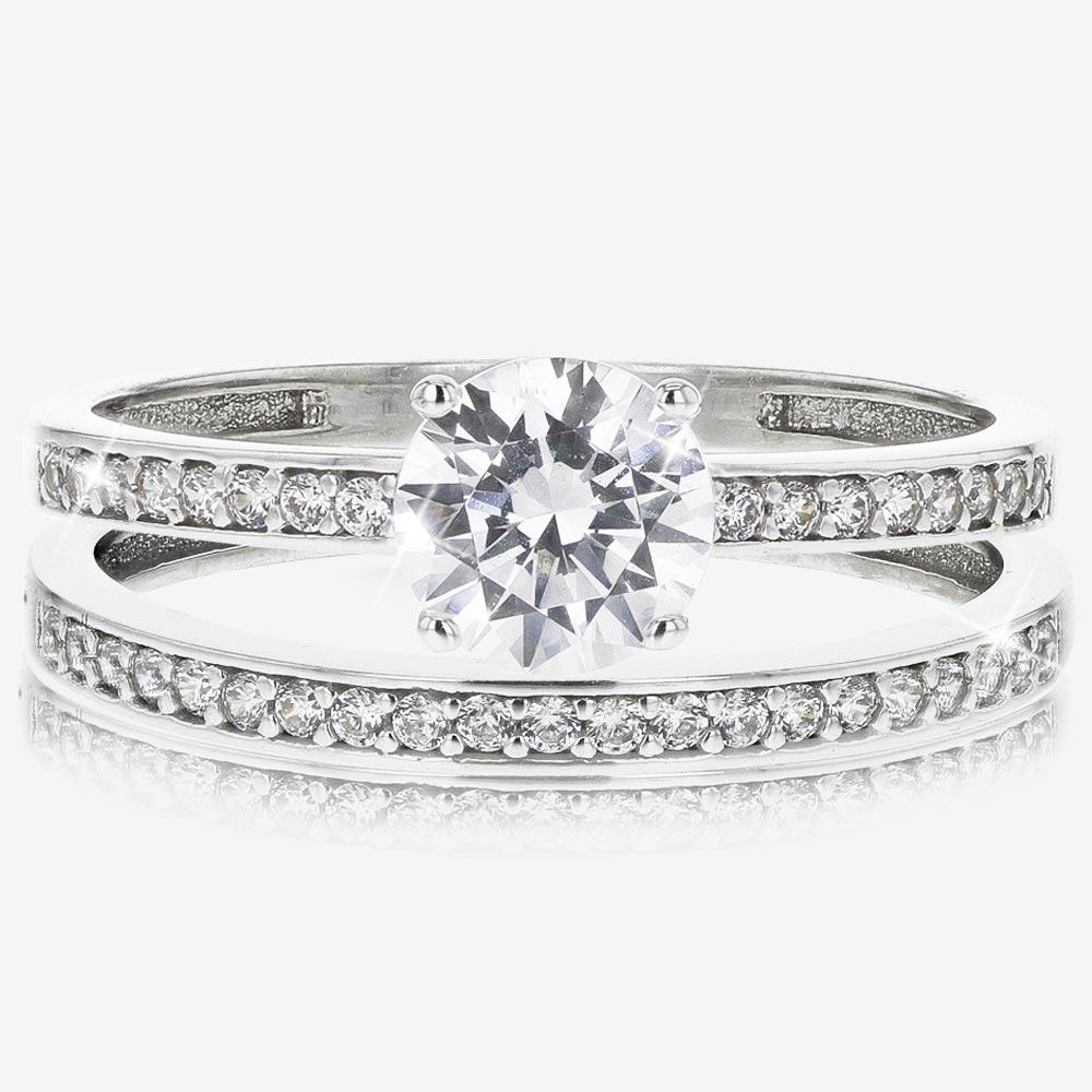 9ct White Gold DiamonFlash® Cubiz Zirconia Duet 2 Ring Set