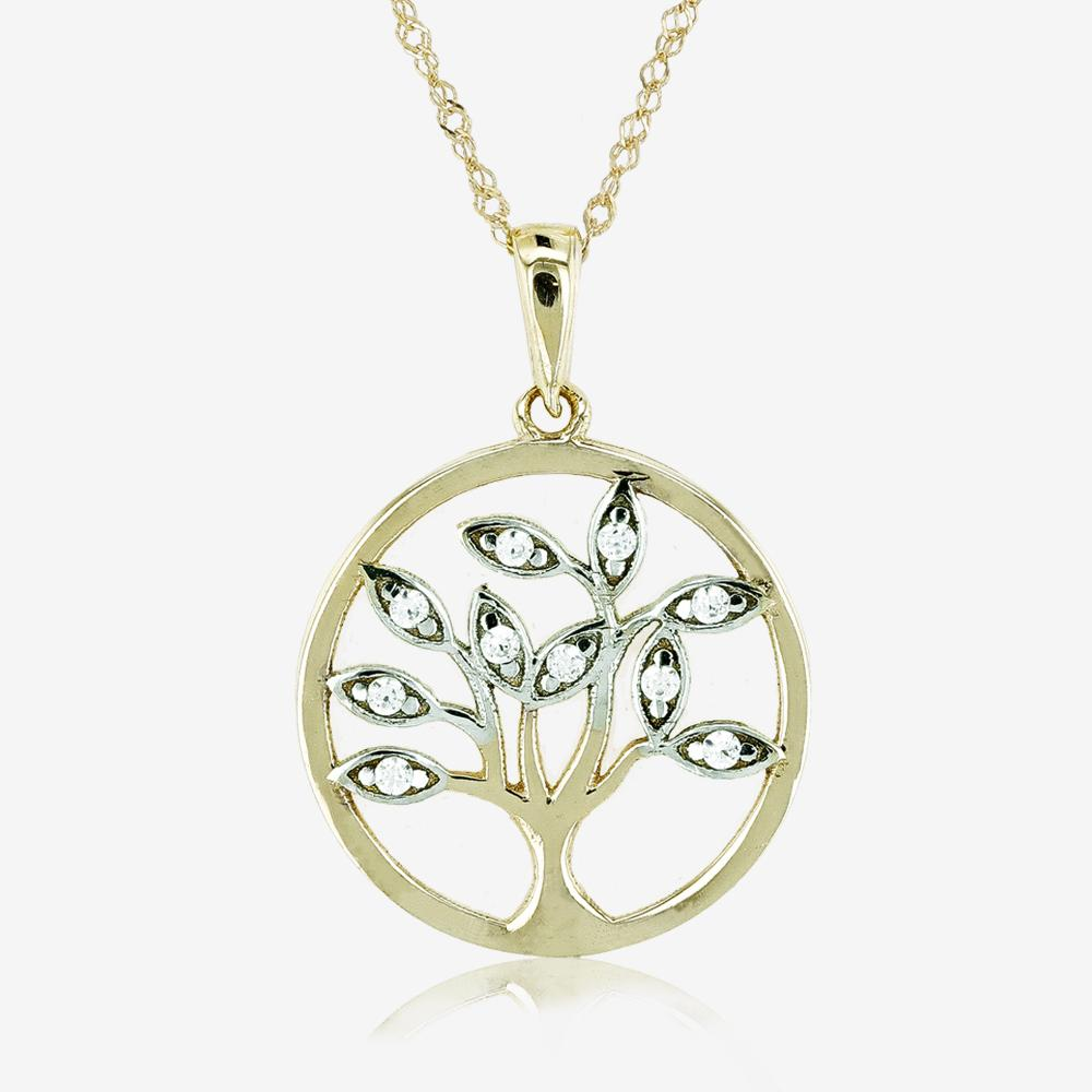 9ct Gold CZ Life's Tree Necklace