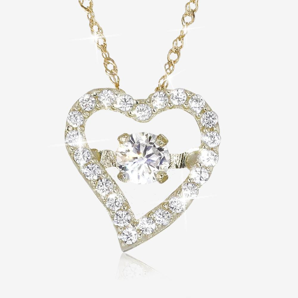 9ct Gold CZ Heart Necklace