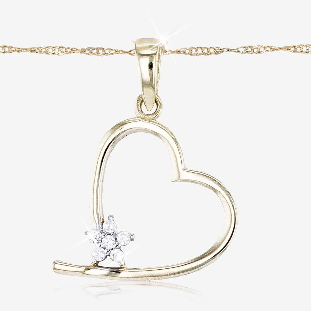 9ct Gold DiamonFlash® Heart Necklace