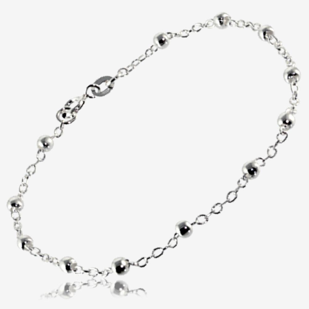 Timothea Sterling Silver Link Amp Bead Bracelet
