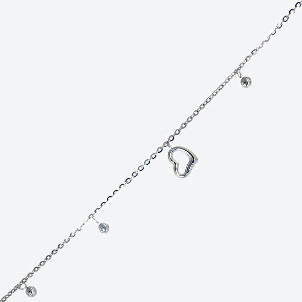 Sterling Silver Ladies Link, Heart And Bead Anklet