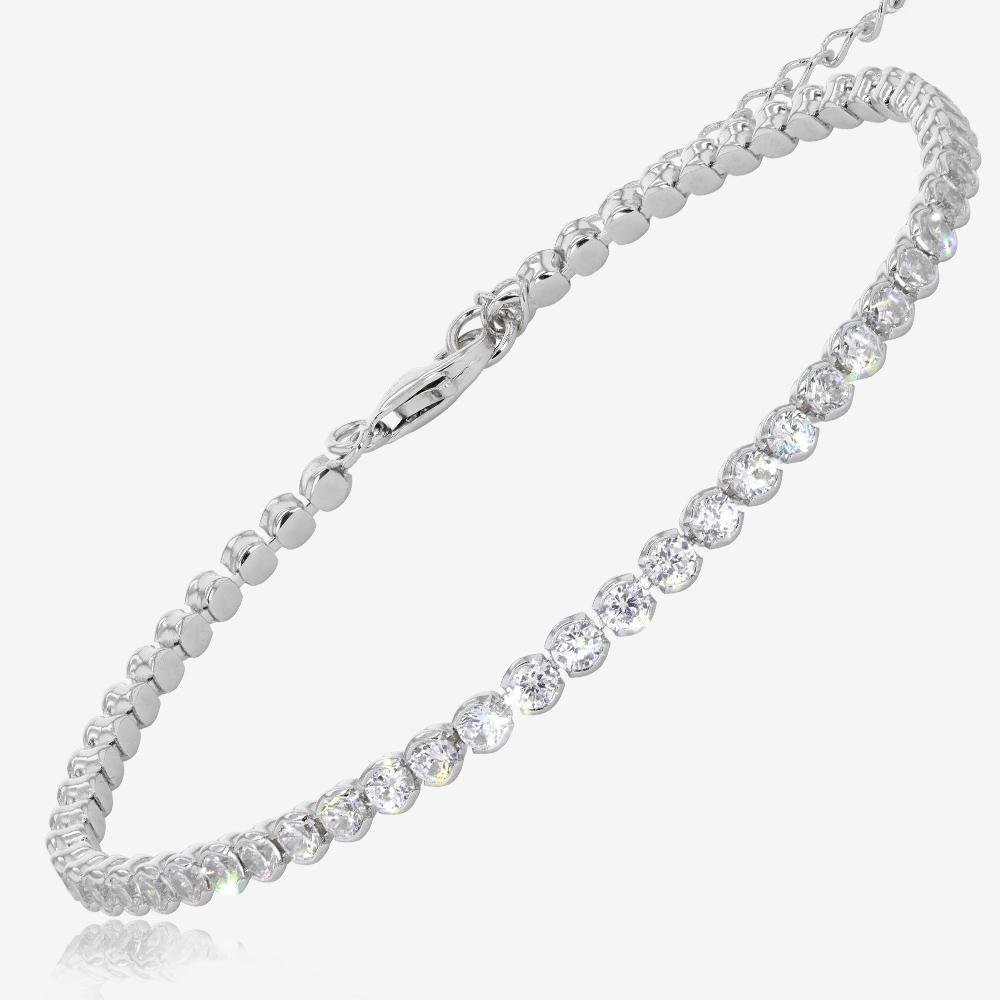 sterling silver diamonflash cubic zirconia tennis bracelet. Black Bedroom Furniture Sets. Home Design Ideas