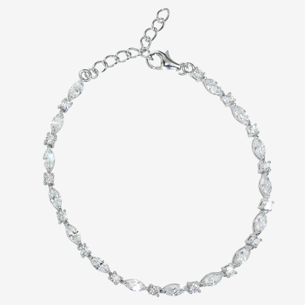 Sterling Silver DiamonFlash<sup>®</sup> Cubic Zirconia Marquise Bracelet