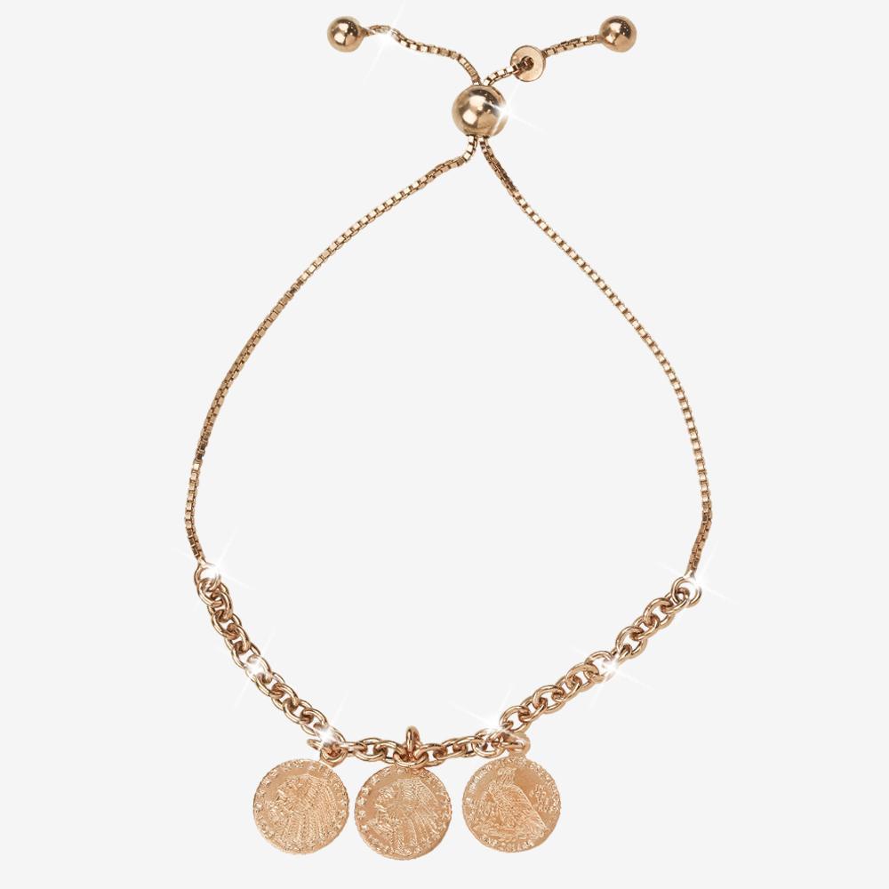 a52684634b6695 Sterling Silver Rose Gold Finish Coin Friendship Bracelet