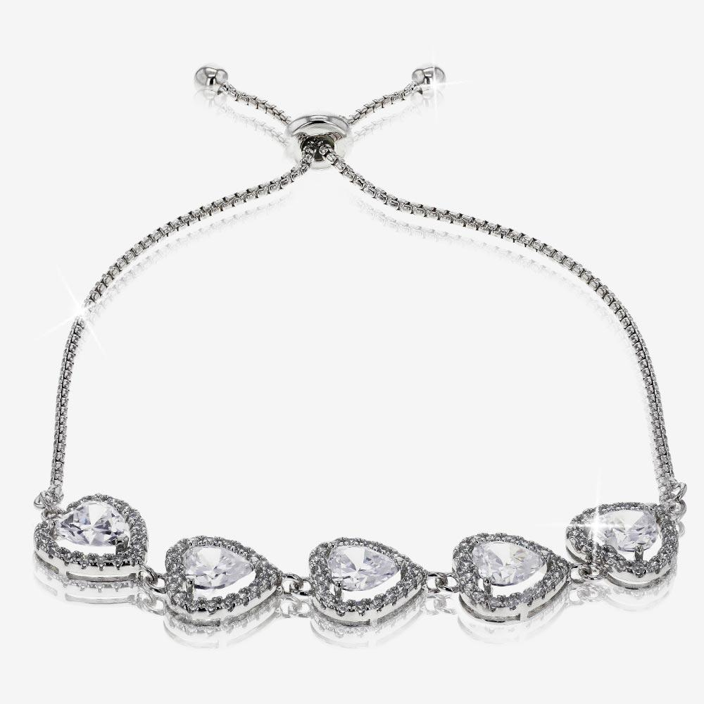 Sterling Silver DiamonFlash® Cubic Zirconia Friendship Bracelet