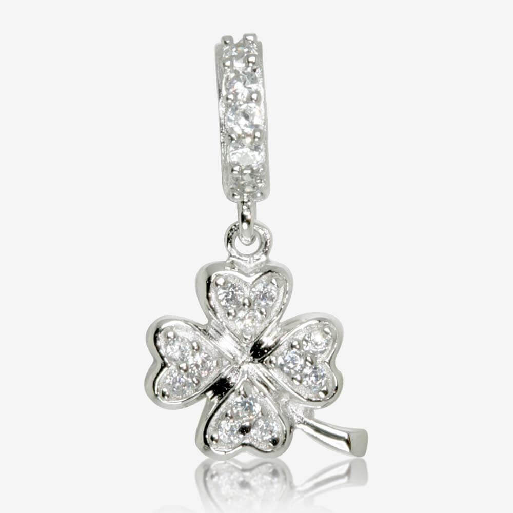 Sterling Silver DiamonFlash<sup>®</sup> Cubic Zirconia 4 Leaf Clover Dangler Charm