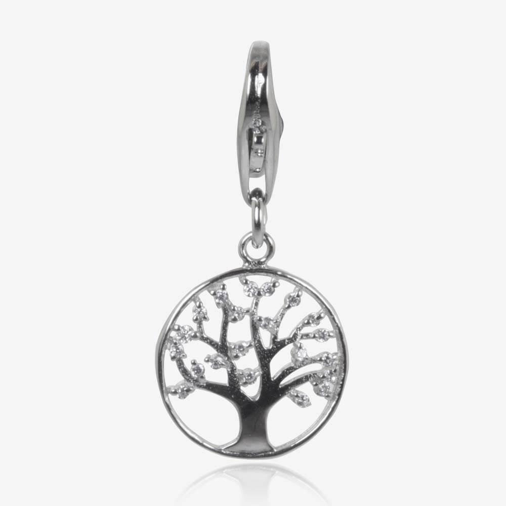 Sterling Silver DiamonFlash<sup>®</sup> Cubic Zirconia Life's Tree Charm