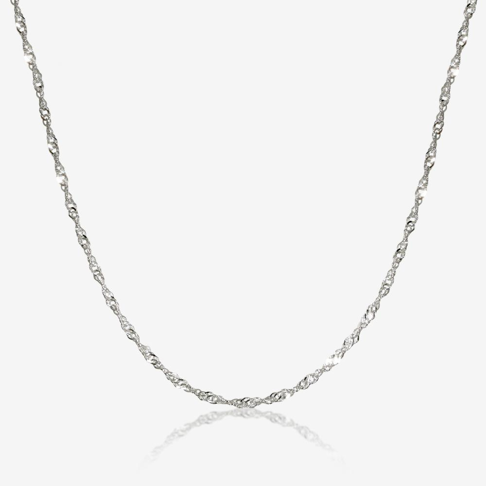 Sterling Silver 18 inch Singapore Style Chain