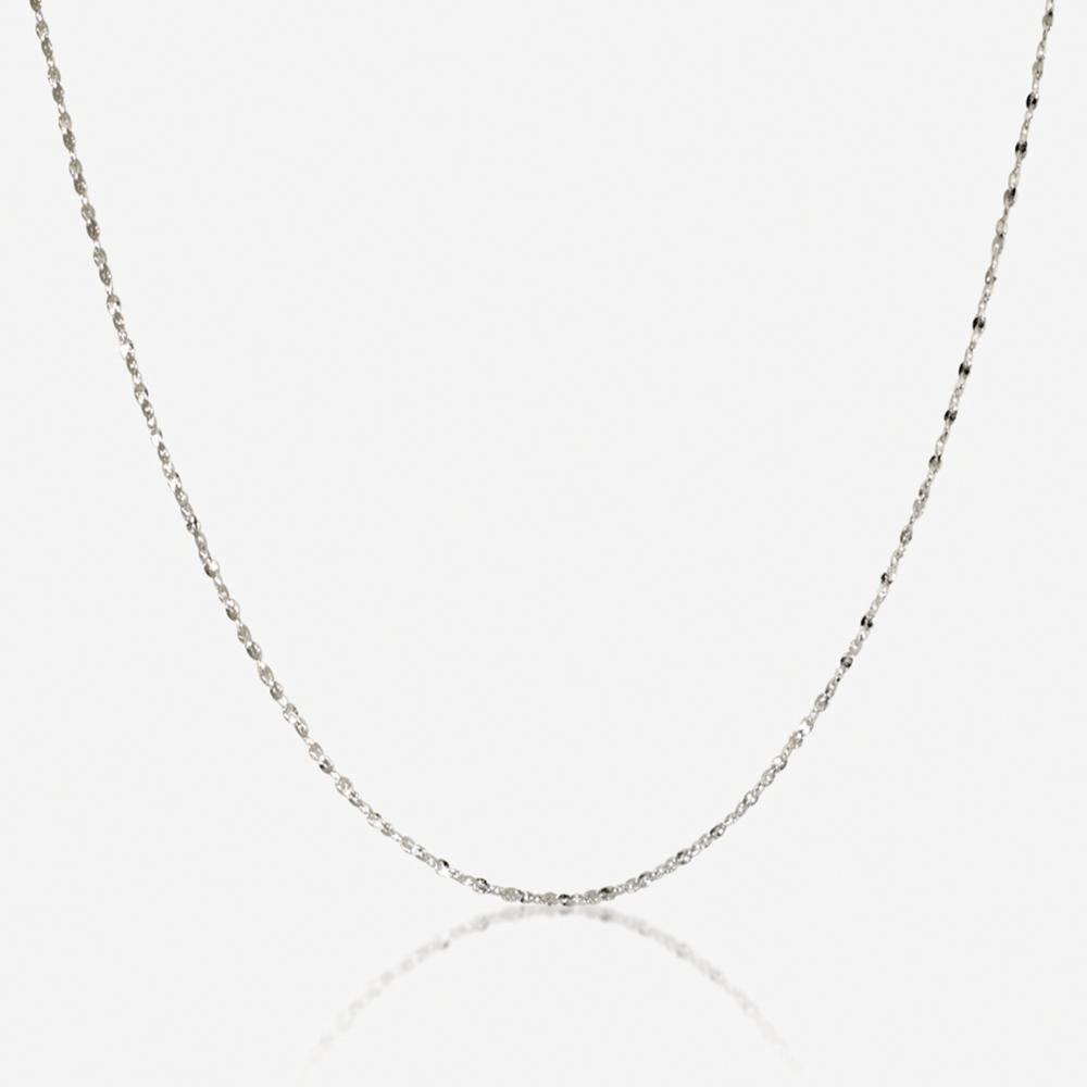 "Silver 18"" Singapore Style Chain Necklace"