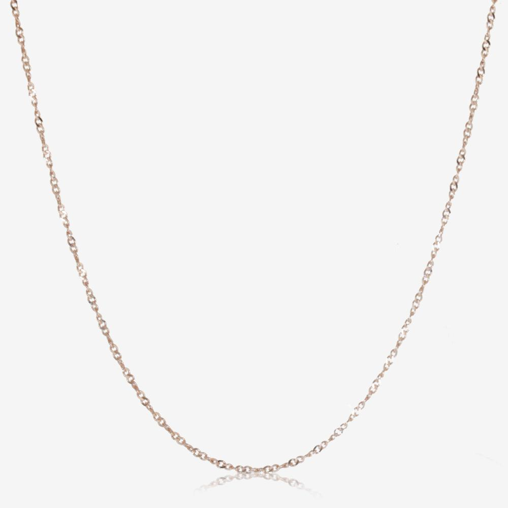 "Silver 18"" Rose Gold Finish Singapore Style Chain"